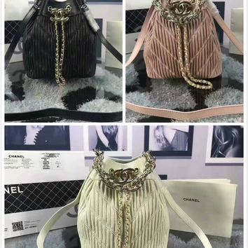 2018 New Chanel Caviar Skin Large Shoulder Bag Bucket Bag Backpack Bag avelling bag black,white,pink