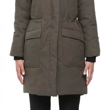 SOIA & KYO - EDITA MILITARY PARKA DOWN COAT WITH FUR HOOD FOR WOMEN