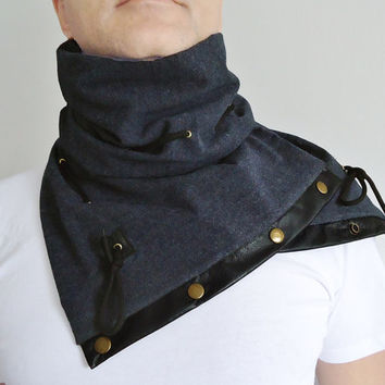 Black and gray Men Women Unisex Ultra Soft Adjustable jersey Scarf Leather Cord Snaps