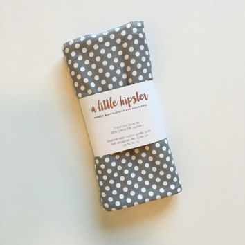 Gray and White Polka Dot Baby Swaddle | swaddles | knit swaddle | polka dot swaddle | girl swaddle