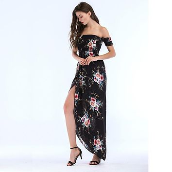 Dress Summer Strapless Dress Ladies Chiffon Printed Furcal Beach Dress Maxi Long