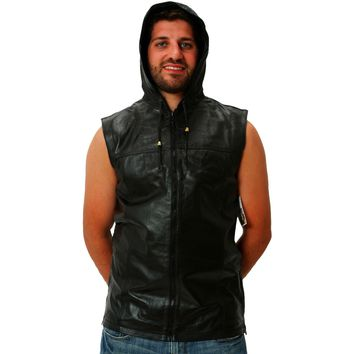 Mens Leather Shirt Black or Navy Hooded Hoodie Zip up Sleeveless Tee Nappa Sheepskin