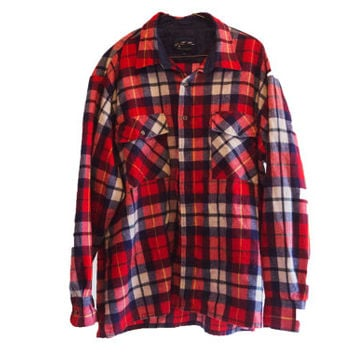 Vintage Lumberjack Flannel - Red, Blue, & White Flannel Shirt - Size M