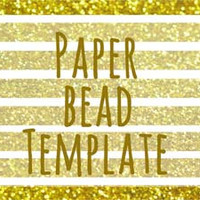 Paper bead printable template download. Gold glitter, gold tube bead, make your own beads, beading template, jewellery supplies,glitter bead