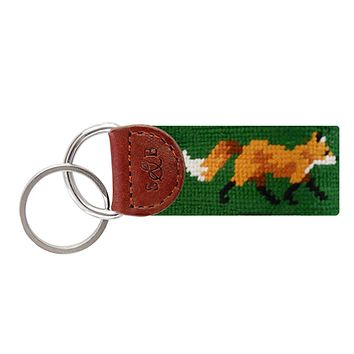 Fox Needlepoint Key Fob in Dark Forest by Smathers & Branson