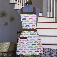 Womens Aprons Mustache, Arpons for Women,  Handmade Aprons Women, Clotilde Apron