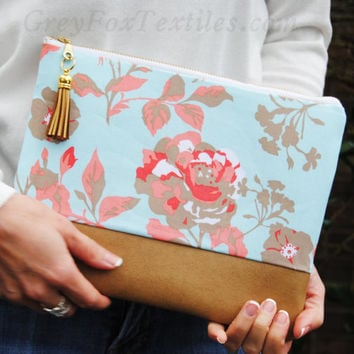 FLORAL CASUAL CLUTCH, floral zipper pouch, coral and pink flowers, classy clutch purse, leather accent pouch, iPad sleeve, kindle case
