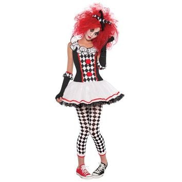 Harley Quinn Joker Costume Women Girls Clown Circus Cosplay Fancy Dress Halloween Hen Party Outfit