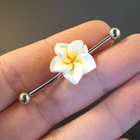 White Kawaii Flower Industrial Bar Barbell Piercing Upper Ear Ring