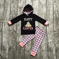Fall clothes kids long sleeve outfits baby girls hoodie clothing happy camper plaid outfits tent clothing children boutique sets