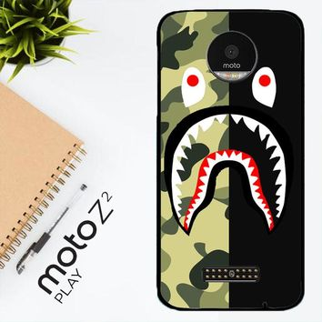 Half Camo Bape Shark Face Pattern L1951 Motorola Moto Z2 Play Case