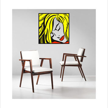 "Pop Art inspired by Roy Lichtenstein ""Sleeping Girl"" removable vinyl wall decal"