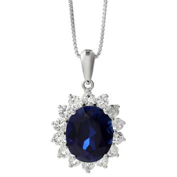 3.70 Oval Blue Sapphire and White Sapphire Pendant in 925 Sterling Silver