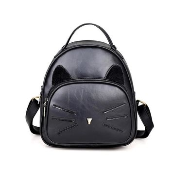 Xiniu Famous Brand Preppy Style Leather School Backpack Bag For College Simple Design Cat Pattern Casual Daypacks mochila#LREW
