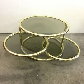 Brass and Glass Coffee Table, Small Round Coffee Table, Hollywood Regency Furniture,  Swiveling Coffee Table, Gold Glass Coffee Table