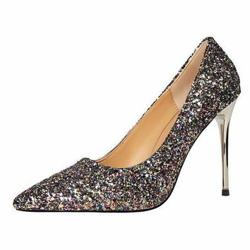 High Heels Pumps  Glitter Pointed Toe Shoes
