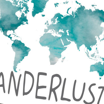 Wanderlust printable world map poster from sunnyrainfactory on wanderlust printable world map poster world map instant download wanderlust print travel quote gumiabroncs