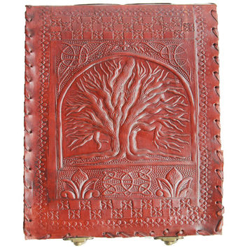 Photo Album - Leather Handmade Wedding Photo Album - Leather Baby Photo Album Scrapbook - Celtic Tree of Life Photography Album  Bronze Lock