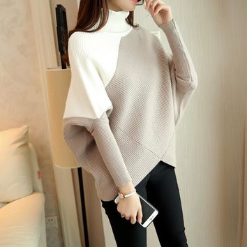 HAO HE SHEN Female winter sweater loose turtleneck sweater 2016 irregular Korean female backing sweater coat thick