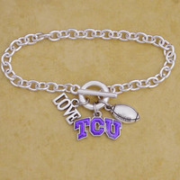 TCU Horned Frogs Football & Logo Charm Bracelet