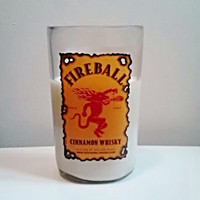 Upcycled Fireball Cinnamon Canadian Whiskey Bottle All Natural Soy Candle