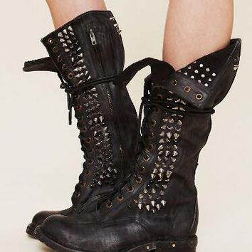 Western Style Boots Black/ Brown Rivets Chunky Heels Round Toe Genuine Leather Motorcycle Boots