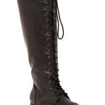 17366 Torrid Lace Up Wide Calf Tall Combat Boots Size 10