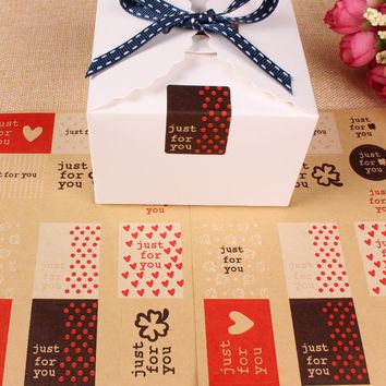 130pcs/lot Just For You Kraft Paper Label For DIY Handmade sticky notes Gift Cake Candy Box Package Seal Decorative sticker