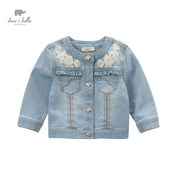 DB5034 davebella spring baby girls jeans jacket light blue coat fancy outerwear kids beautiful coats