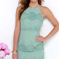 Worth It Sage Green Backless Lace Dress
