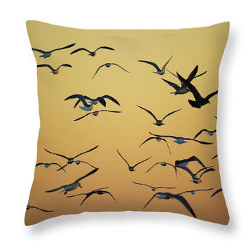 Seagulls Accent Pillow. Birds Seat Cushion. Birds Throw Pillow for Indoor or Outdoor use. Sunset Birds Orange Nature Throw Pillow
