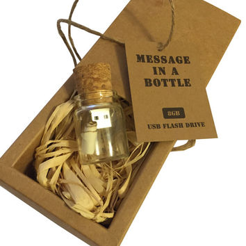 6 pack: Message in Bottle, Cork Flash Drive Gift