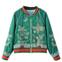 Green Stripe Detail Floral Bomber Jacket