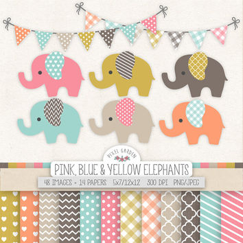 Cute Elephant Clipart. Baby Shower Clip Art, Digital Paper. Banners in Pink, Grey. Chevron, Heart, Polka Dot Pattern. Baby Nursery Elephant.