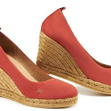 "VISCATA Marquesa Suede 3.25"" Wedge Pump, Slip-On, Closed Toe, Espadrilles Heel Made In Spain"