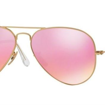 New Authentic Ray-Ban Sunglasses AVIATOR RB 3025 112/4T 58mm Mirror Matte Gold
