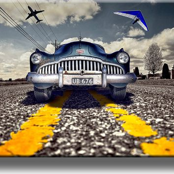 Vintage Blue Car Picture on Acrylic , Wall Art Décor, Ready to Hang!