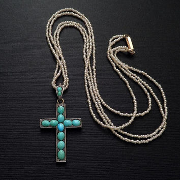 Antique Victorian PERSIAN Turquoise CROSS Pendant, Baby Seed PEARL Necklace, Religious Jewelry, Ladies Womens Wife Christmas Gift for Her