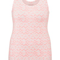 Plus Size - Printed Scoop Neck Tank - Pink