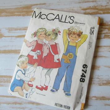 McCalls 70s Toddler 2 Sewing Pattern Boy or Girl Jumper Jumpsuit Complete Cut