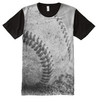 Baseball in Black and White All-Over-Print T-Shirt
