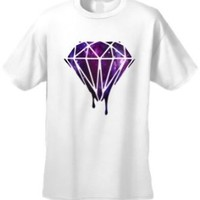 Men's/Unisex Dripping Purple Galaxy Diamond WHITE Short Sleeve T-shirt (Small)