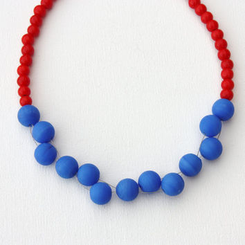 Red blue beaded necklace , beadwork glass jewelry , bead weave , pretty