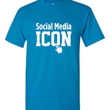 Social Media Icon Shirt Facebook Twitter YouTube Tumblr Blogger YouTuber Internet Sensation Great Gift Idea Funny Shirt Trendy Modern B-455