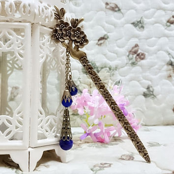Bookmark handmade metal flower hair stick vintage purple bead  bronz gift for her traditional Asian style Chinese  birthday valentine gift