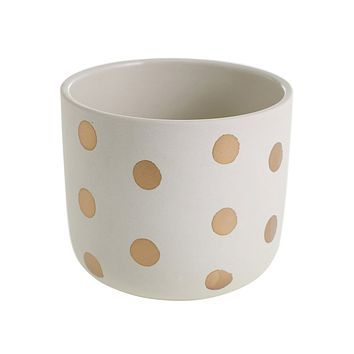 "Izzy Ceramic Small Flower Pot with Gold Polka Dots - 5"" Wide"