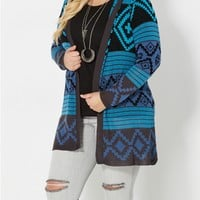 Plus Blue Hooded Aztec Cardigan