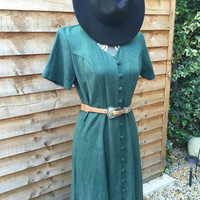 Vintage 70s Teal Suede Long Button Up Country Folk Dress