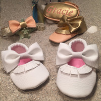 Pharaoh Peach Vegan Leather Baby Mary Janes Shoes With a Dark Gold Bow embroidery name / message / DOB