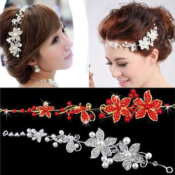Ladies Silver Rhinestone Bridal Wedding Flower Pearls Headband Hair Clip Comb [7981427399]